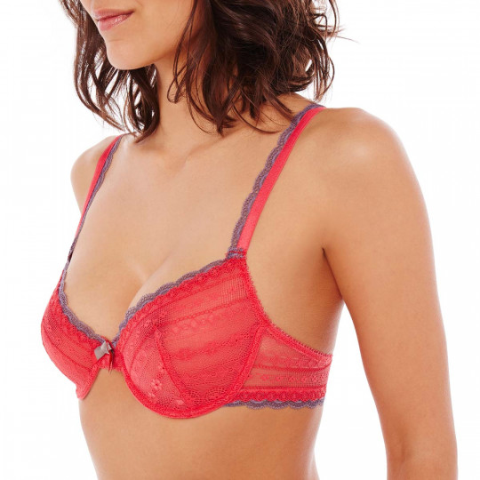 Soutien-gorge corbeille bonnets B, C et D grenadine/gris I Feel Good