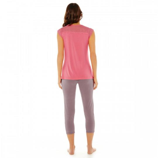 Pyjama rose/noisette Etoile - vue 2