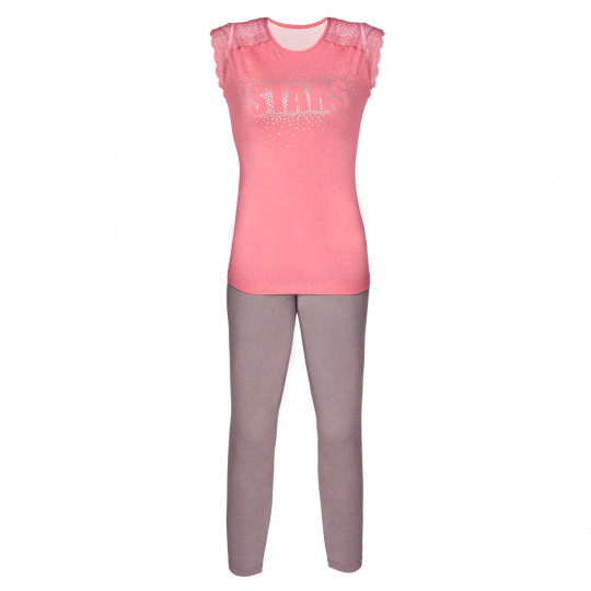 Pyjama rose/noisette Etoile - vue 0