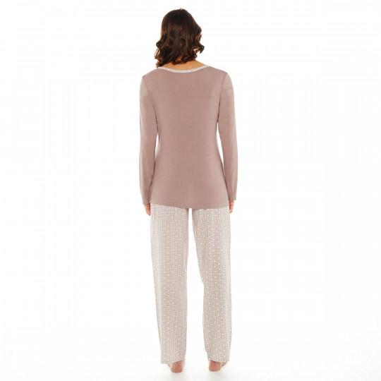 Pyjama ivoire/noisette Bigoudis - vue 3