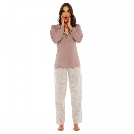 Pyjama ivoire/noisette Bigoudis