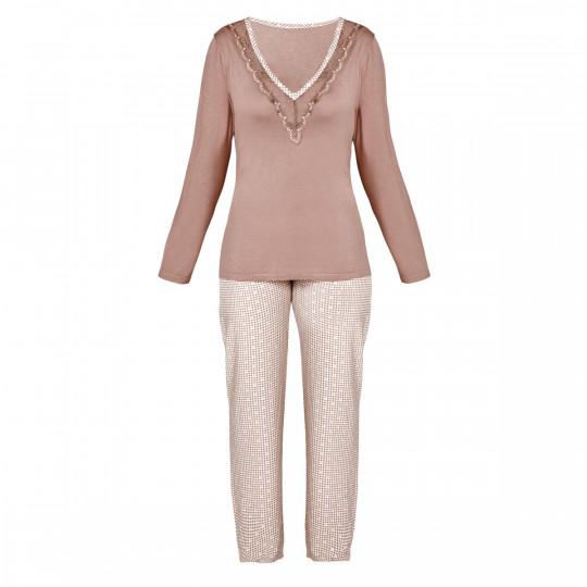 Pyjama ivoire/noisette Bigoudis - vue 0