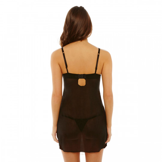 Babydoll push-up + string noir/rouge Nuit Blanche