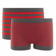 Lot de 2 boxers boy rayés gris/rouge Stripes by Djembé