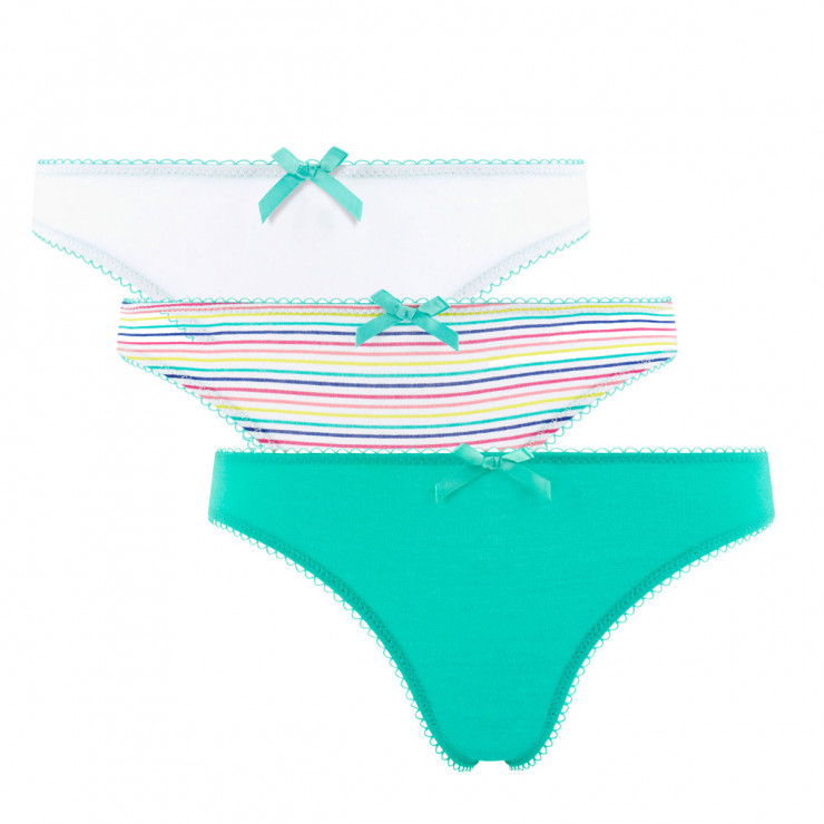 Lot de 3 slips girl blanc, menthe & arc en ciel Stripes