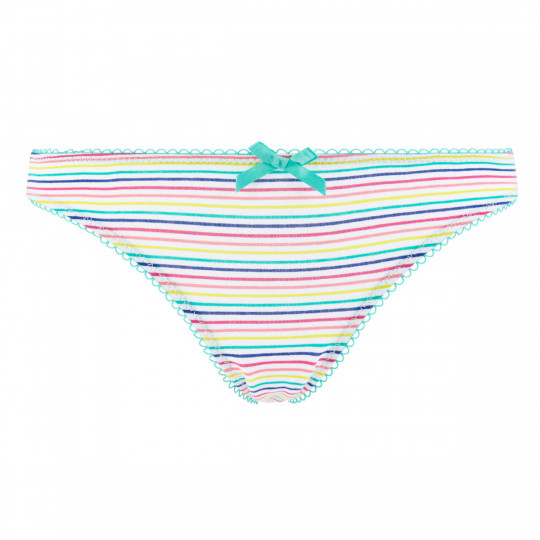 Lot de 3 slips girl blanc, menthe & arc en ciel Stripes - vue 2