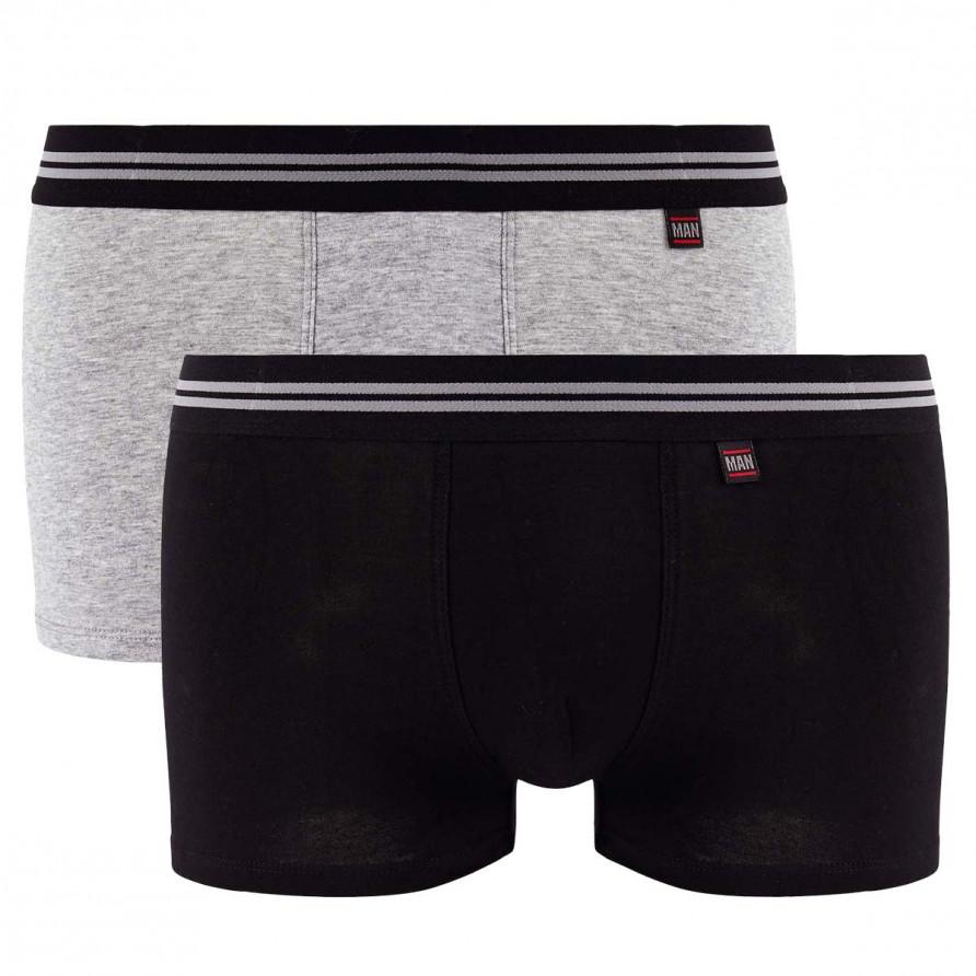 Lot de 2 boxers gris chiné & noir Gentleman