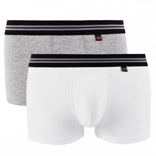 Lot de 2 boxers blanc & gris chiné Gentleman