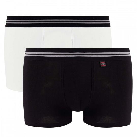 Lot de 2 boxers blanc & noir Gentleman
