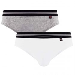 Lot de 2 slips gris chiné & blanc Gentleman