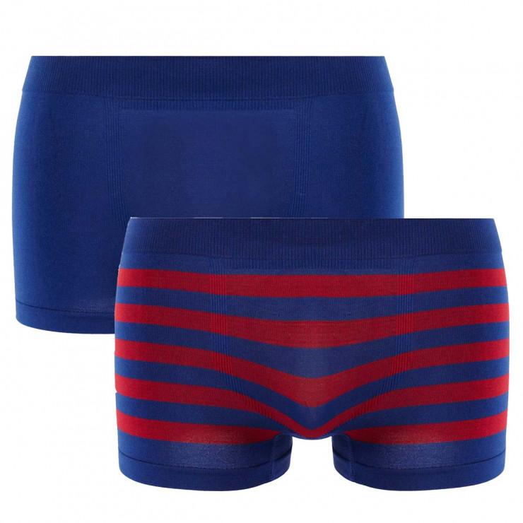 Lot de 2 boxers bleu nuit & rayé bleu/ rouge Seamless