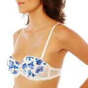 Soutien-gorge bandeau bretelles détachables blanc/bleu Gabriella