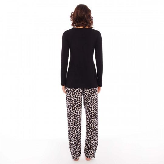 Pyjama noir/peau Pause Café - vue 3