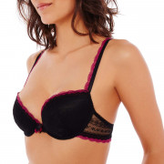 Soutien-gorge ampliforme push moulé noir/framboise I Feel Good