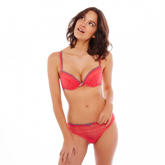 Soutien-gorge ampliforme push moulé grenadine/gris I Feel Good