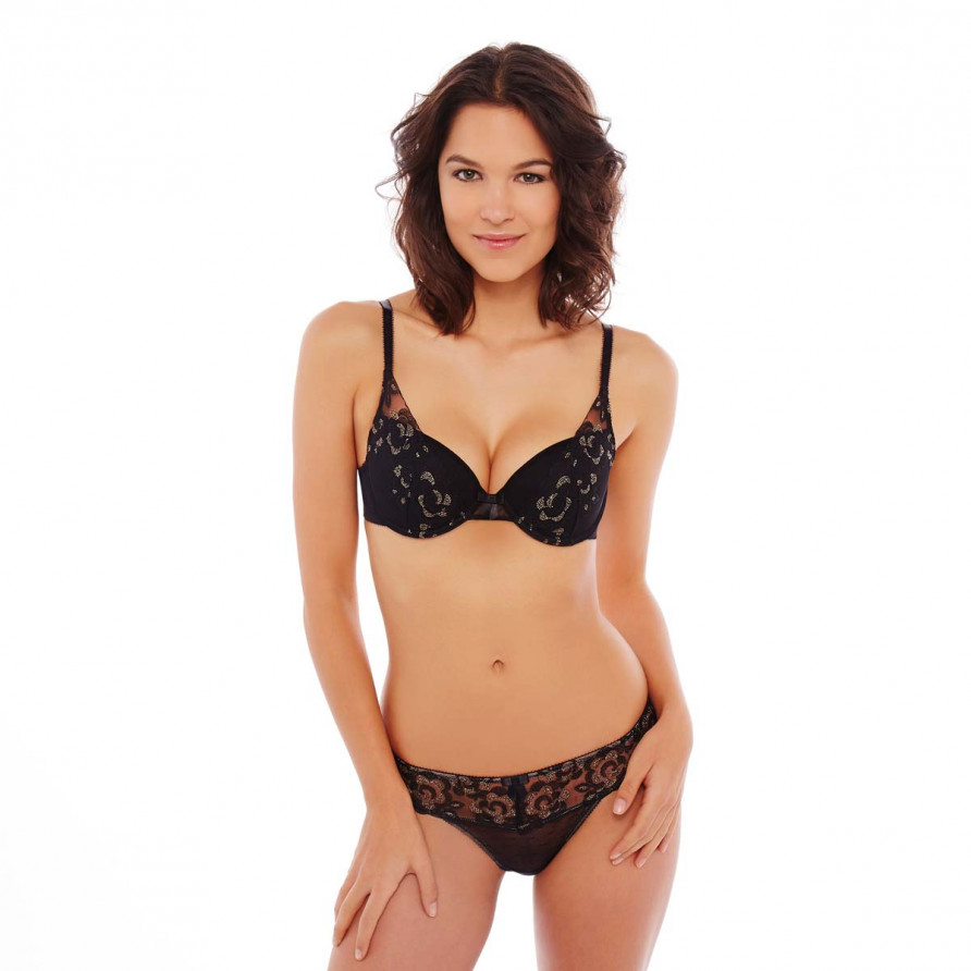 Soutien-gorge ampliforme push moulé noir/or Décalcomanie