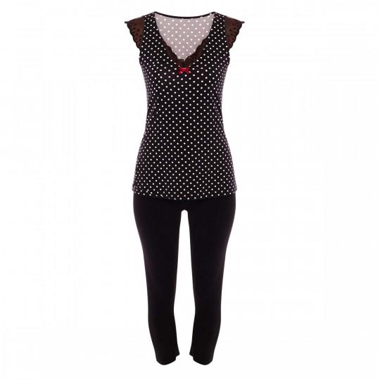 Pyjama noir/ivoire Blabla - vue 0
