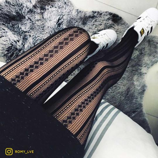 Collant noir motif effet tricoté noir Dome - vue 2