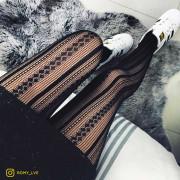Collant noir motif effet tricoté noir Dome