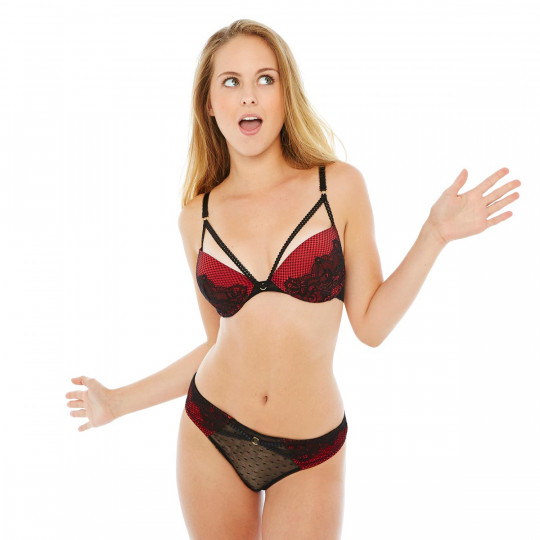 Soutien-gorge push-up noir/rouge Big Apple - vue 2