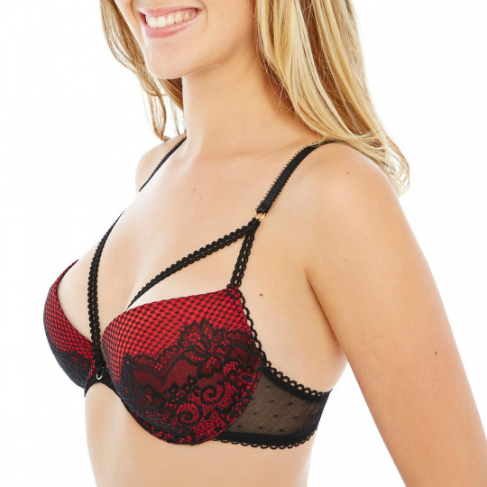 Soutien-gorge push-up noir/rouge Big Apple - vue 1