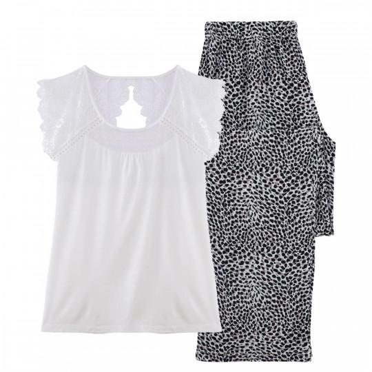 Pyjama ivoire/noir Léo - vue 0