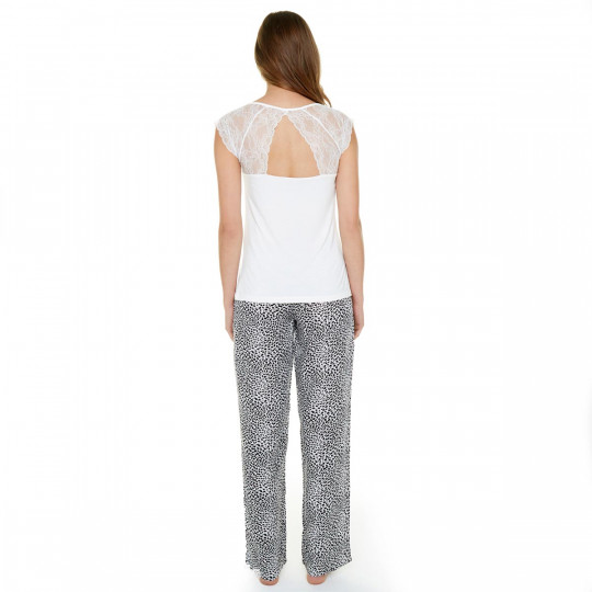 Pyjama ivoire/noir Léo - vue 3