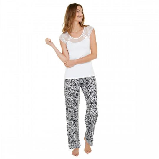 Pyjama ivoire/noir Léo - vue 1