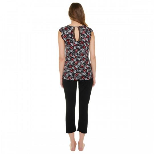 Pyjama noir/rouge Nana - vue 3