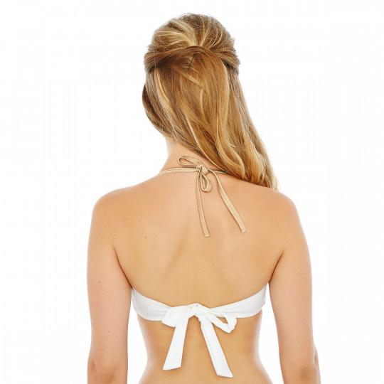 Haut de maillot bandeau blanc/or Palm Beach by Brigitte Bardot - vue 2