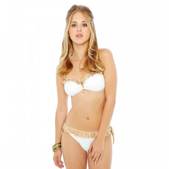 Haut de maillot bandeau blanc/or Palm Beach by Brigitte Bardot