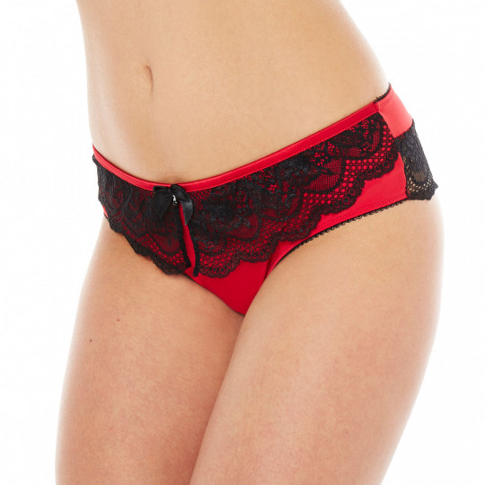 Shorty string noir/rouge SOS - vue 1