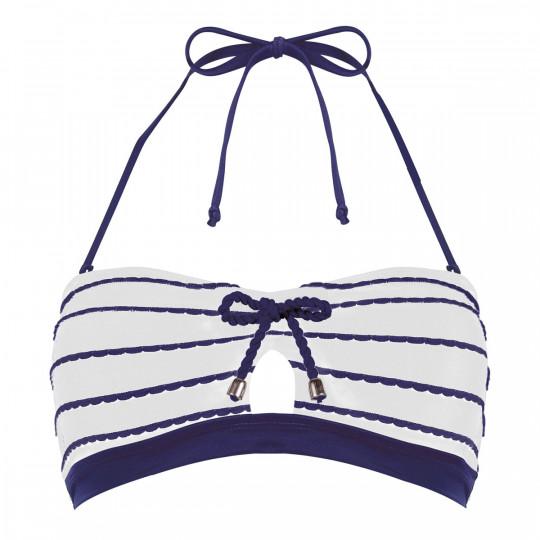 Haut de maillot bandeau ivoire/marine Voilier by Brigitte Bardot - vue 0