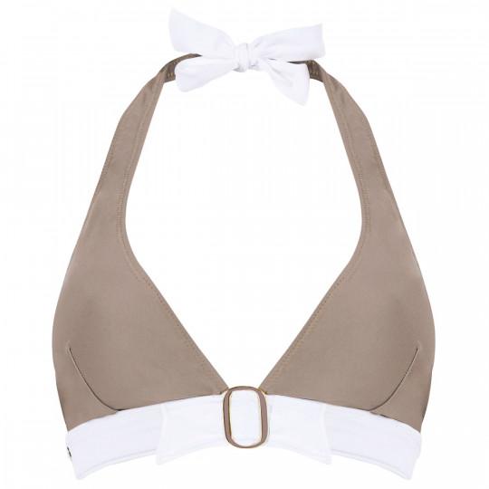 Haut de maillot triangle taupe/ivoire Plage by Brigitte Bardot - vue 0