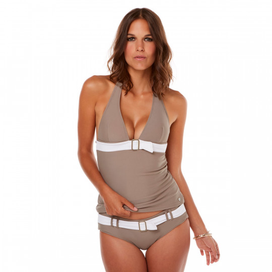 Tankini taupe/ivoire Plage by Brigitte Bardot - vue 1
