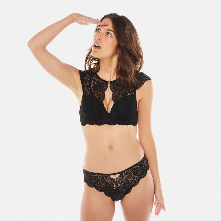 Soutien-gorge ampliforme coque moulée noir Feu aux Poudres