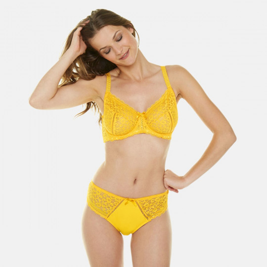 Soutien-gorge emboitant bonnets C, D et E jaune tournesol Elena