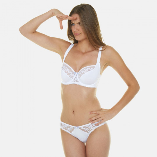 Soutien-gorge emboitant bonnets C, D et E blanc Sirène