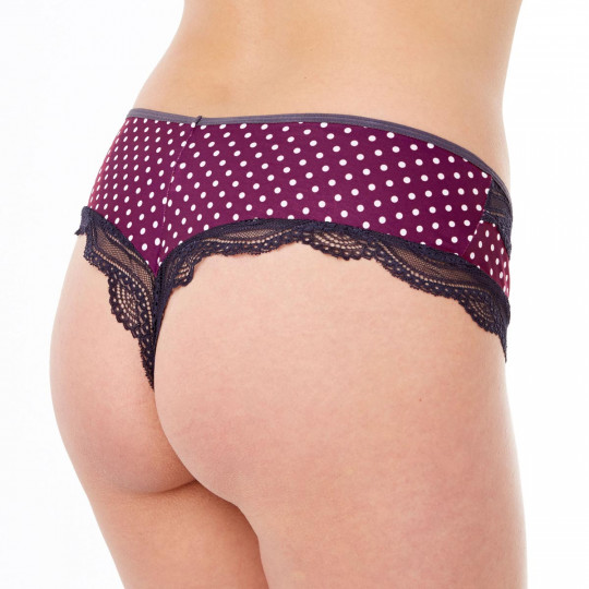 Shorty tanga bordeaux/gris Dali - vue 2