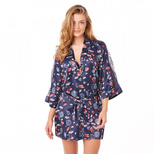 Kimono imprimé bleu Espiègle - vue 1