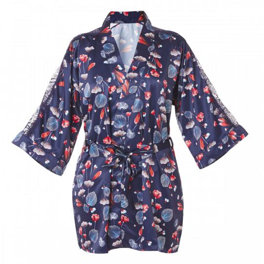 Kimono imprimé bleu Espiègle - vue 0