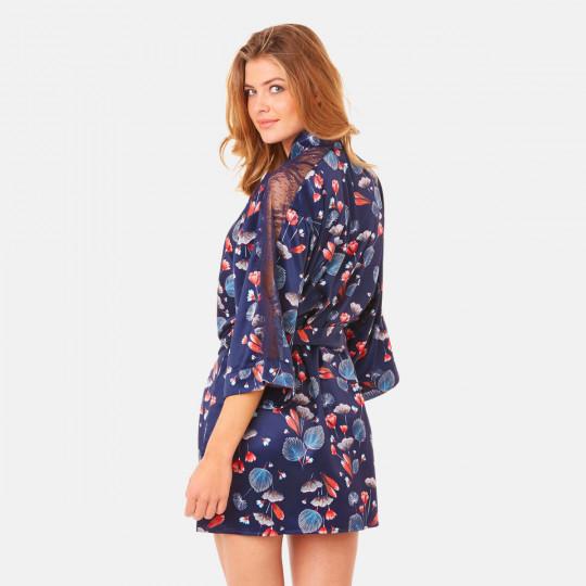 Kimono imprimé bleu Espiègle - vue 4