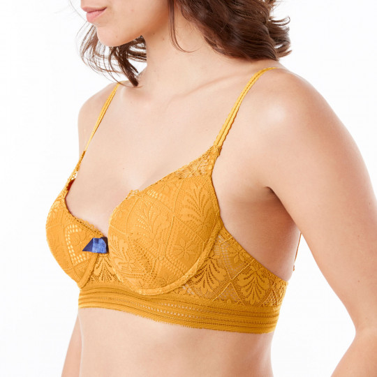 Soutien-gorge ampliforme coque moulée jaune Love Power - vue 1