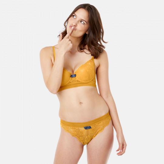 Soutien-gorge ampliforme coque moulée jaune Love Power