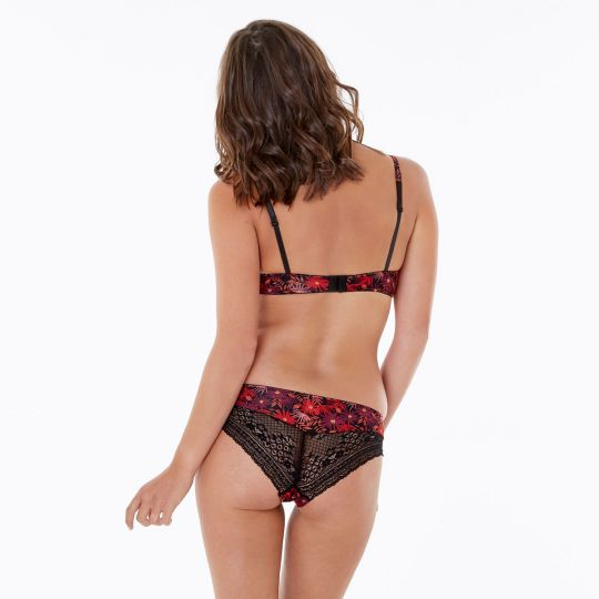 Shorty coquelicot/noir Tropical