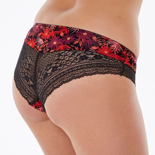 Shorty coquelicot/noir Tropical - vue 2