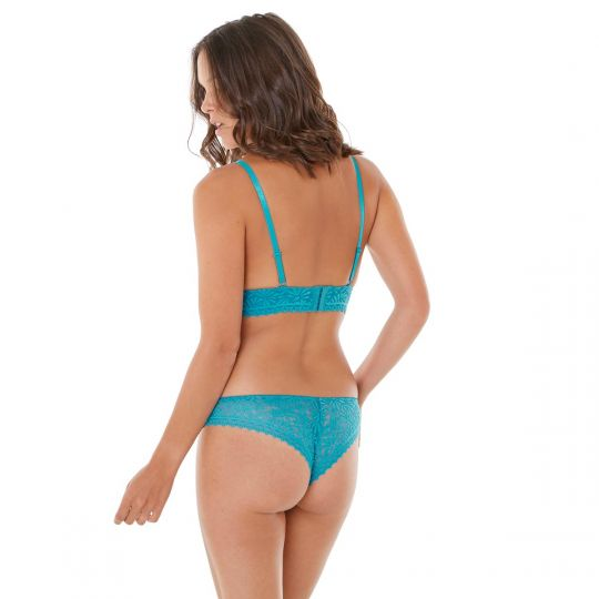 Soutien-gorge triangle sans armatures turquoise Check-In - vue 3