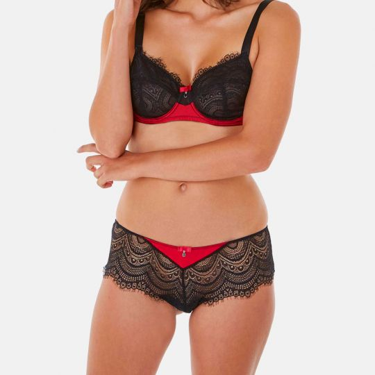 Shorty tanga noir/rouge Absolu