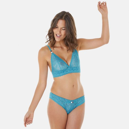 Soutien-gorge triangle sans armatures turquoise Check-In - vue 6