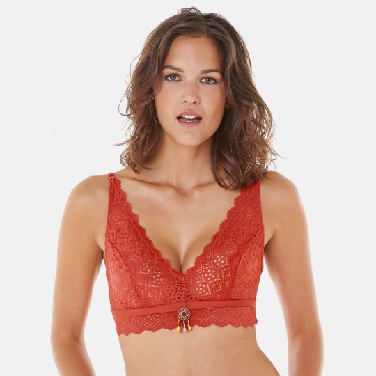 Soutien-gorge triangle sans armatures orange Aloha